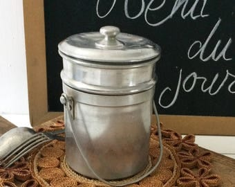 French vintage Aluminum canister 1950's, old box 2 compartments,vintage picnic box,camping box with lid and handle aluminum round canteen