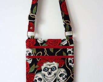 Zip and Go Bag/ Crossbody Bag/ Purse/ Handbag in Alexander Henry - The Rose Tattoo (skulls & roses) Fabric