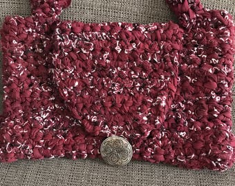 Handmade Purse Hand Bag Metal Button Maroon With White Woven Rag Rug Style