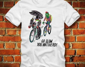 BOARDRIPPAZ Fixed Gear T SHIRT Go Slow You Antihero! Fixie Bicycle Bike Race Bike Messenger Mountainbike Fixed Gear Shirt Rabbit Turtle Race