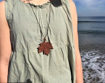 Leather Maple Leaf Pendant