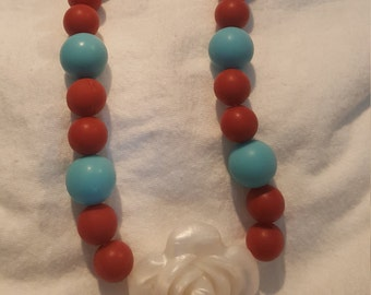Silicone Blue, White, Maroon Rose Teething Necklace