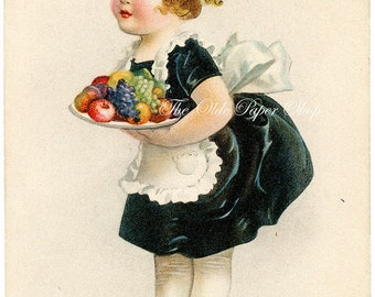 Antique Thanksgiving Postcard Ellen Clapsaddle Young Girl Maid Serving a Platter of Fruit