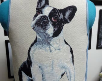 Denium vest, french bulldog