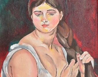 Girl Braiding Hair - Oil Painting - Portrait - Impressionism - Original Art