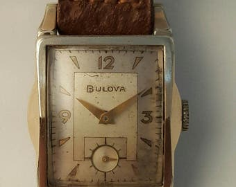 Vintage gold filled  art deco style BULOVA wrist watch from 1953-----------SERVICED------------.