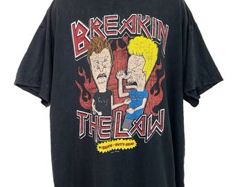 Beavis And Butthead T Shirt Breakin The Law MTV Destroyed Mens Size 2XL