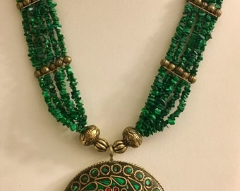 Malachite and Red Coral Brass Necklace