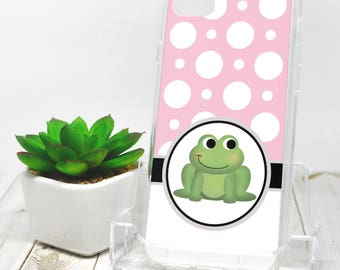 Adorable Frog iPhone 7 Case - Pink Polka Dot - iPhone 7 Plus Case - Cute Green Froggy Cartoon Illustration