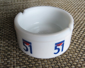 Retro 1960's French Bistro - PASTIS 51 - White Milk Glass Ashtray - Vintage French Ashtray.