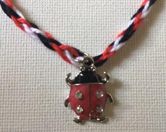 woven ladybug charm bracelet