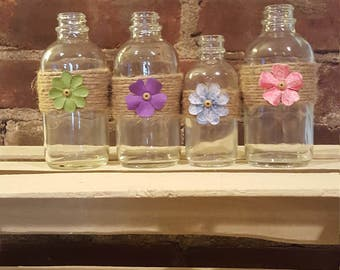 Cute Mini Glass Vases or Bottles With Twine and a Button or Flower - Spring is Here!