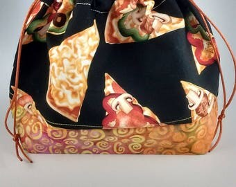 Pizza knitting project bag