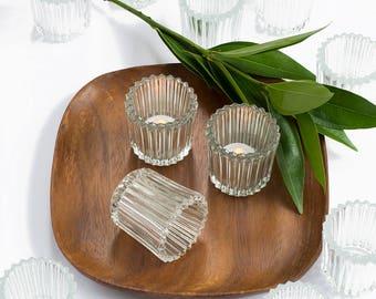 Vintage Crystal Votives Dozen / Glass Candle Holders Lot  / Wedding Decor Supplies / Events Table Decor / Set of 1 Dozen / Indiana Glass