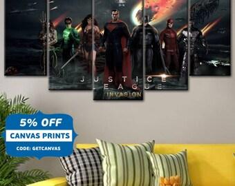 Comics canvas, DC Comics, Justice League art, Batman canvas, Superman canvas, Home Decoration, Wonder Woman, Flash canvas, Green Lantern