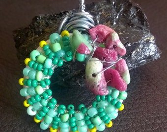 Ruby/Zoisite with dark green, light green, and lime green beads