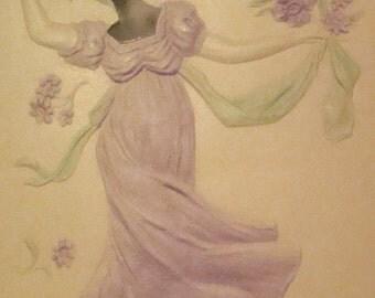 SALE Highly Embossed, Aairbrushed, Pretty Lady Vintage Postcard # 1