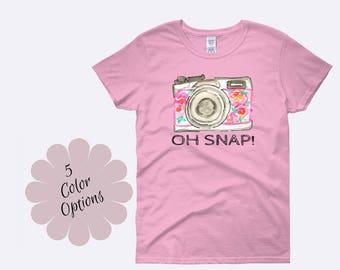 Camera Shirt, Photography Shirt, Photographer Shirt, Oh Snap Shirt, Snapshot Shirt, Photography Clothing, Ladies Shirt, Womens Shirt