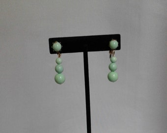 50s Aqua dangle bead clip ons