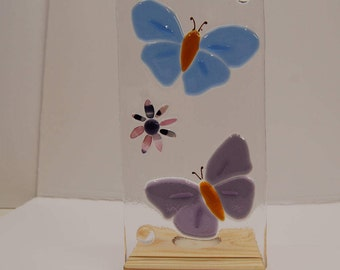 Candle Holder, Butterfly   Wooden Oak Tealight Stand, Candle, Stand, Fused Glass