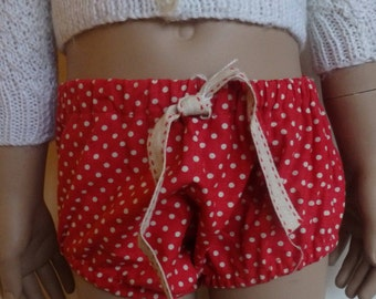 Baby Girls Bloomers Red With Beige Spots