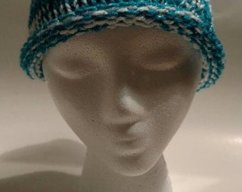 White and Teal Child Knit Hat - White and Teal Child Knit Beanie