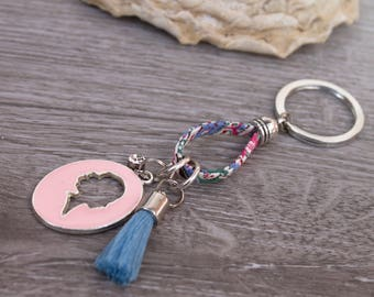 Key pendant with Cameo pendant, Taschenahänger, bag accessory, light blue, pink, fabric, rhinestone, tassel, HAND MADE UliAjewelry