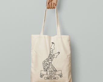Tote bag Shopping bag fabric organic cotton Print Tattoo Pin up Vintage
