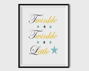 Twinkle, Twinkle, Little Star Nursery Print, Nursery Decor, Nursery Wall Art, Giclée, 8x10, 11x14
