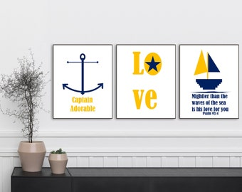 Captain Adorable, Mightier than the waves of the sea is his love for you,Psalm 93:4, Nautical Art, Nursery Decor, Nursery Wall Art