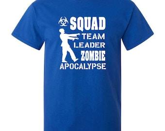 Squad team leader zombie apocalypse blue t-shirt