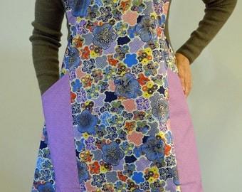 Japanese Apron,Full,  Women's Apron, Cross Back Apron, Kimono Prints, Apron Dress