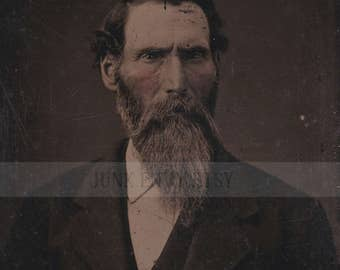 Antique Tintype Photograph . Civil War Era Portrait of a Man with a Beard . Digital Download . High Resolution Scan