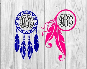 Dream Catcher Monogram Decal Design, Dream Catcher, SVG File, Monogram, Feathers, Dream Catcher Monogram, Cricut Design