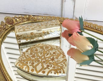 Elgin American Clam Shell Powder Compact and Lipstick Case