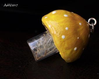 Yellow Cap Dandelion Vial Mushroom Pendant