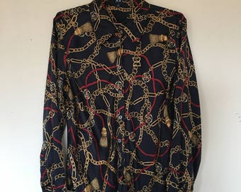Vintage Black and Gold Silk Hilfiger Chain Link Button Up Blouse / Size XS-S