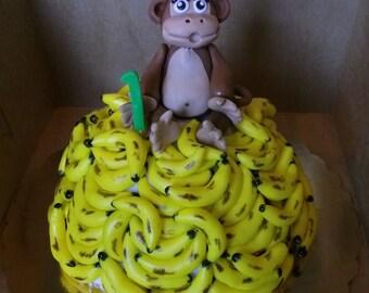 Fondant Monkey & Bananas Cake Toppers (43 pieces)