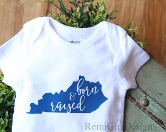 Kentucky born, born and raised, kentucky clothing, hospital outfit, baby shower gift, new baby gift, unisex baby bodysuit, going home outfit