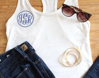 Monogram tank top, circle monogram tank, monogram women's tank top, glitter monogram tank top, monogram v neck shirt, custom tank top