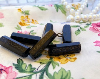 Vintage Black Glass Toggle Buttons