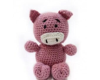 Pig toy,knitted pig,stuffed pig,child gift,birthday gift,farm animal,kid gift,pink pig,stuffed animal,plush toy K002