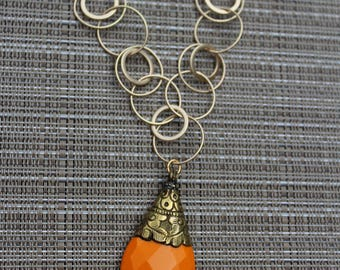 Gold Necklace, Gold Chain, Orange Necklace