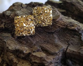 10x10 Gold druzy square earrings | earring posts | nickel free