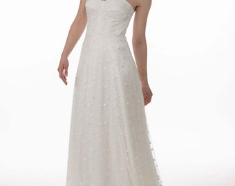 La prima lace dress - Bustier dress with pure white heart embroidered French tulle layered onto silk satin, floor lengh