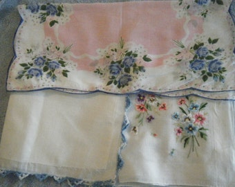 Vintage Women's Handkerchiefs -Three in Pinks and Blues