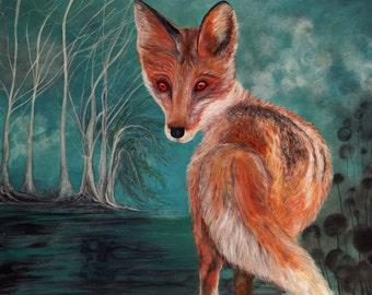 Original acrylic painting on paper 30x40cm Fox painting