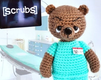 Scrubs, Knitted bear Dr. Christopher Turk toy bear Knitted teddy bear Toy bear Crochet bear Knitted teddy Knitted Toy Scrubs serial