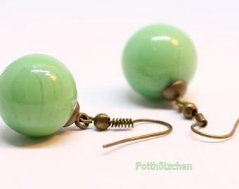 Glass Marble Earrings - Green or Blue