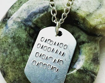 Personalised binary 'Love' tag necklace